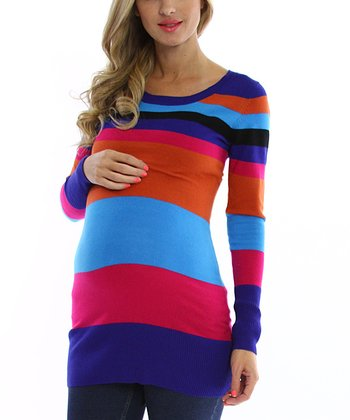 Blue & Orange Stripe Maternity Sweater - Women