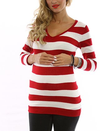 Red & Ivory Stripe Maternity Sweater