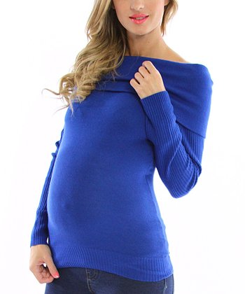 Royal Blue Maternity Off-Shoulder Sweater