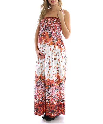 Cream & Orange Floral Maternity Maxi Dress