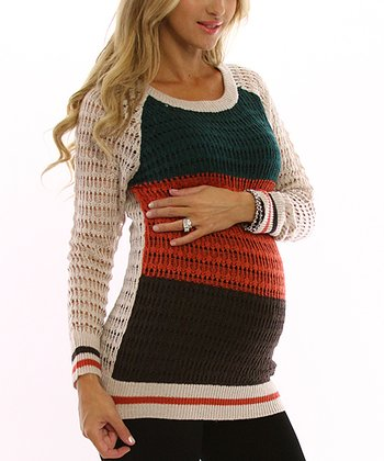 PinkBlush Beige Color Block Maternity Sweater
