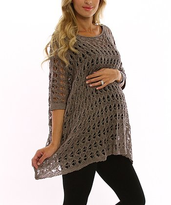 PinkBlush Mocha Crocheted Maternity Sweater