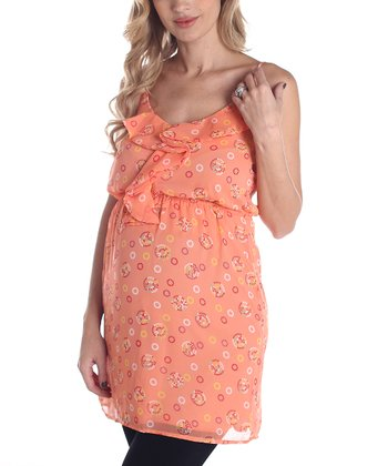 Peach Ruffle Maternity Tunic