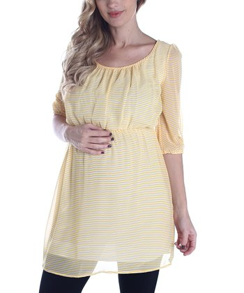 PinkBlush Yellow Stripe Crisscross Maternity Tunic