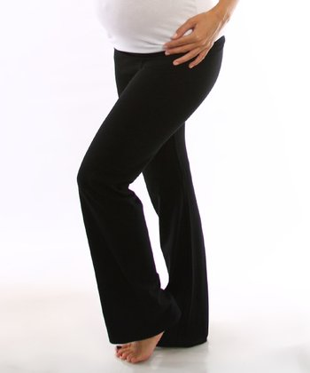 Black Under-Belly Maternity Yoga Pants - Women