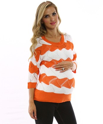 PinkBlush Orange & White Wave Stripe Maternity Sweater