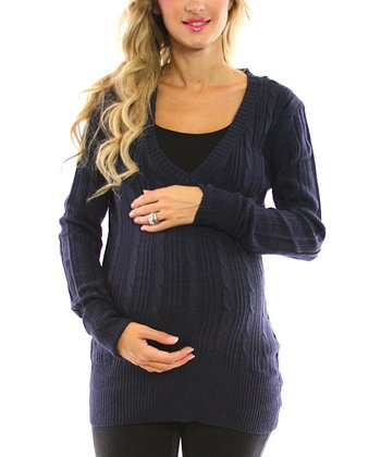Navy Cable-Knit Maternity Sweater