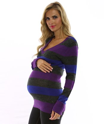 PinkBlush Purple & Gray Stripe Maternity Sweater