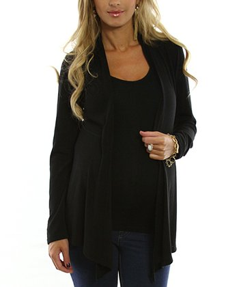 Black Maternity Open Cardigan - Women