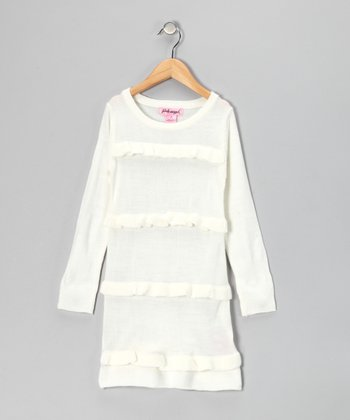 Cream Ruffle Sweater Dress - Toddler & Girls