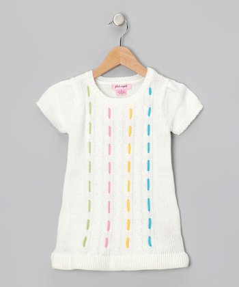 White Neon Stitch Sweater Tunic - Infant & Toddler