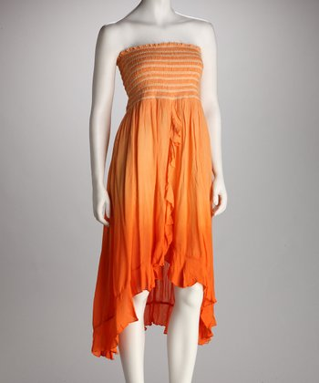 Orange Smocked Hi-Low Strapless Dress
