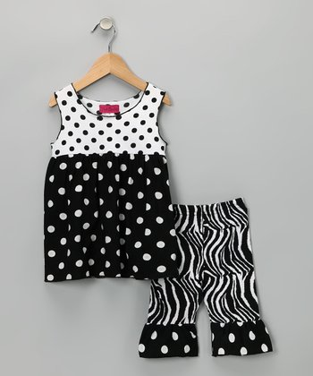 Black & White Polka Dot Tunic & Pants - Girls