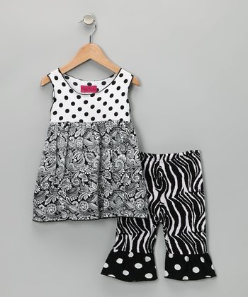 White & Black Polka Dot Tunic & Pants - Infant, Toddler & Girls
