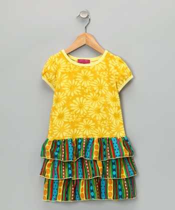 Yellow Tier Ruffle Dress - Infant, Toddler & Girls