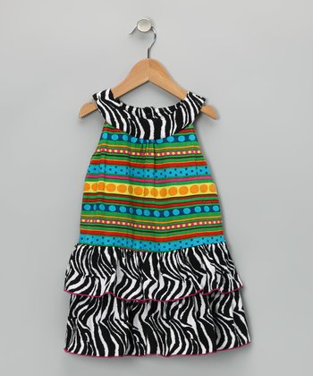 Yellow Zebra Tier Ruffle Dress - Toddler & Girls
