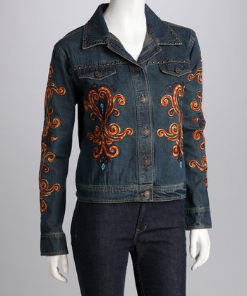 Dark Denim Abstract Embellished Jacket