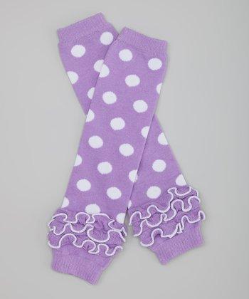 Purple Polka Dot Ruffle Leg Warmers