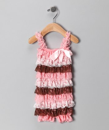 Pink & Brown Lace Ruffle Romper - Infant & Toddler