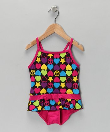 Fuchsia Peace Sign Skirted One-Piece - Infant