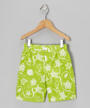 Lime Turtle Swim Trunks - Toddler