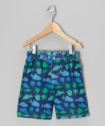 Navy Fish Swim Trunks - Infant & Toddler
