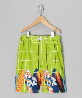 Lime Plaid Surfboard Swim Trunks - Boys