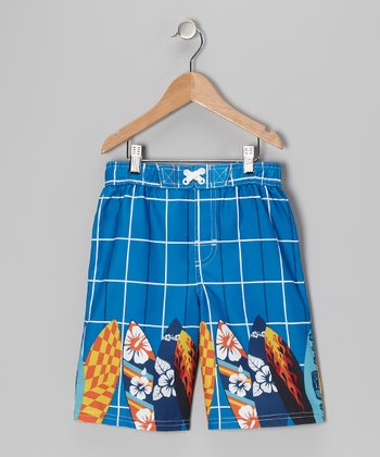 Royal Plaid Surfboard Swim Trunks - Boys