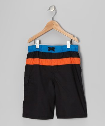 Black Stripe Swim Trunks - Boys