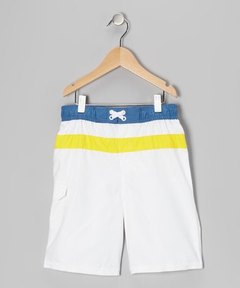 White Stripe Swim Trunks - Boys