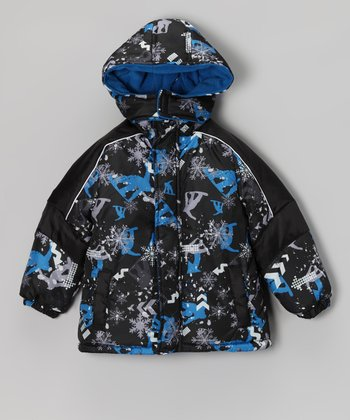 Royal & Gray Snowflake Coat - Boys