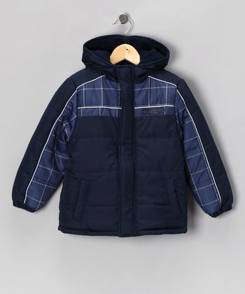 Blue Plaid Coat - Boys