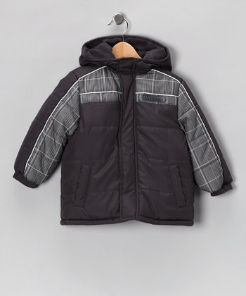 Charcoal Plaid Coat - Boys