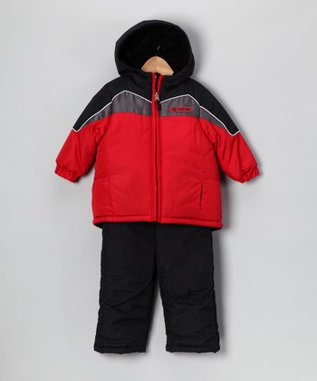 Red & Black Snow Jacket & Bib Pants - Kids