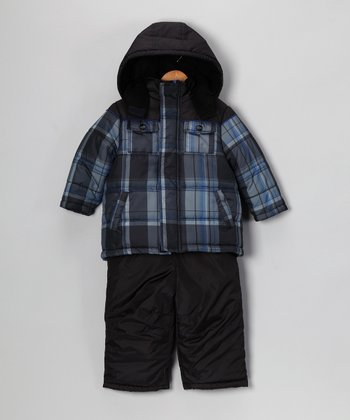 Black & Gray Plaid Snow Jacket & Bib Pants - Kids