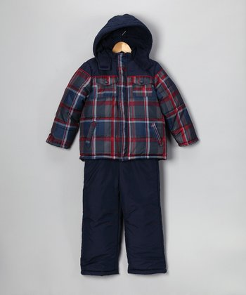 Navy & Red Plaid Snow Jacket & Bib Pants - Infant & Boys