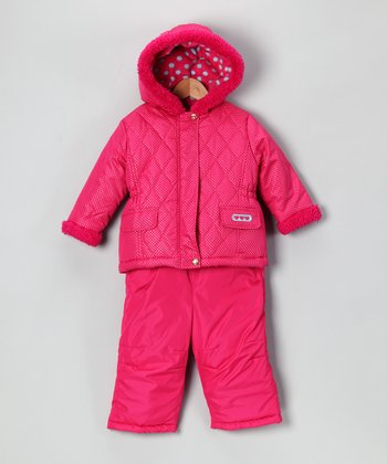 Fuchsia Polka Dot Jacket & Bib Pants - Infant & Toddler
