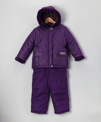 Pink Platinum Purple Puffer Jacket & Bib Pants - Infant