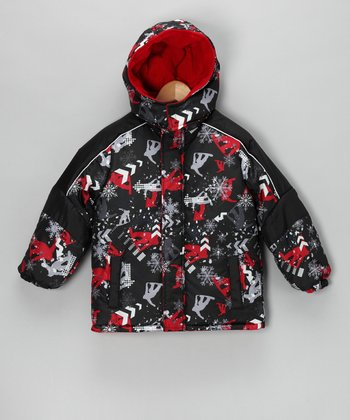 Red Boarder Dude Puffer Coat - Boys