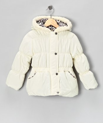 Cream Leopard Puffer Coat - Infant, Toddler & Girls