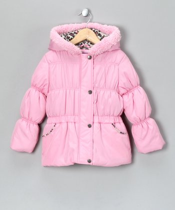 Pink Faux Fur Puffer Coat - Girls