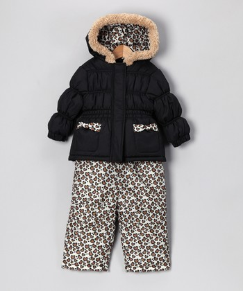 Black & Cheetah Puffer Coat & Bib Pants - Infant & Toddler