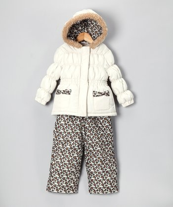 Cream & Cheetah Puffer Coat & Bib Pants - Infant