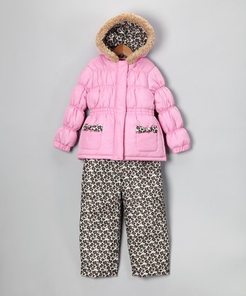 Pink & Cheetah Jacket & Bib Pants - Infant