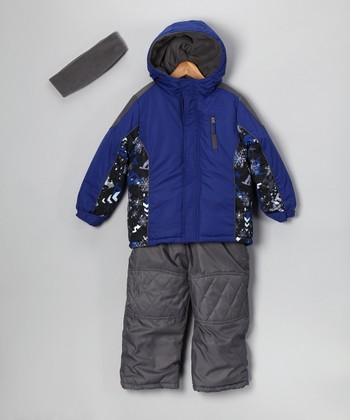 Blue & Gray Puffer Coat Set - Infant & Toddler