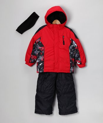 Red & Black Puffer Coat Set - Infant, Toddler & Kids