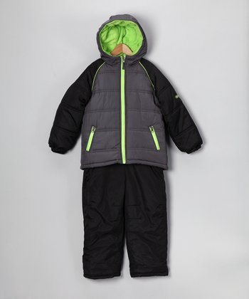Gray & Lime Puffer Coat & Bib Pants - Kids