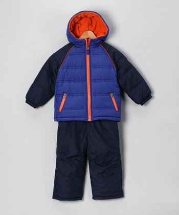 Navy & Orange Puffer Coat & Bib Pants - Boys