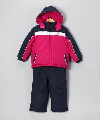 Berry & Navy Snow Jacket & Bib Pants - Infant