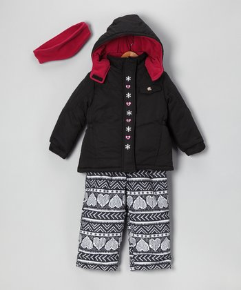 Black Heart Coat Set - Toddler & Girls